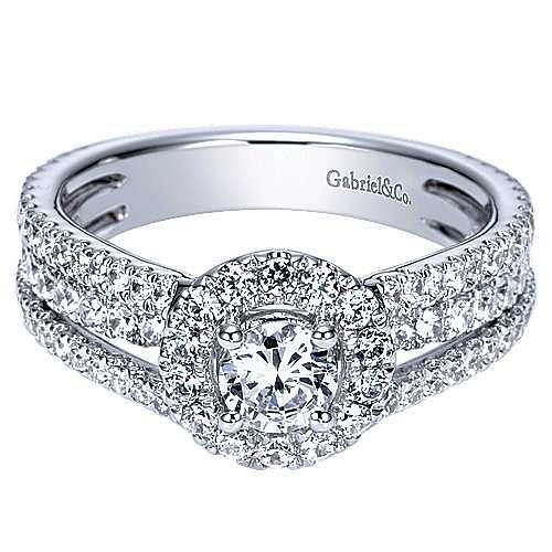 Gabriel - Mars 14k White Gold Round Halo Engagement Ring