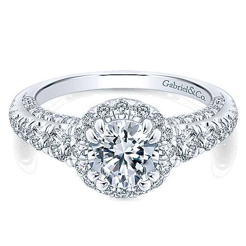 Gabriel - Marseille 14k White Gold Round Halo Engagement Ring