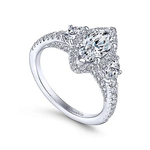 Martina 18k White Gold Marquise  3 Stones Engagement Ring angle 3