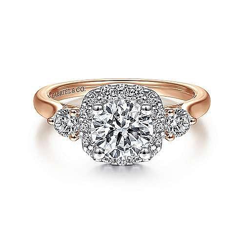 Martine 14k Rose Gold Round Halo Engagement Ring angle 1