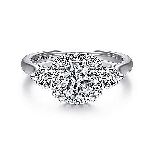 Martine 14k White Gold Round 3 Stones Halo Engagement Ring angle 1