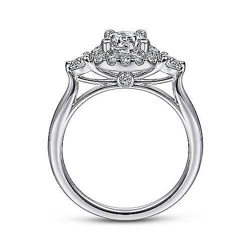 Martine 14k White Gold Round 3 Stones Halo Engagement Ring angle 2