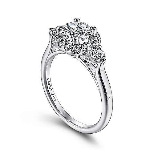 Martine 14k White Gold Round 3 Stones Halo Engagement Ring angle 3
