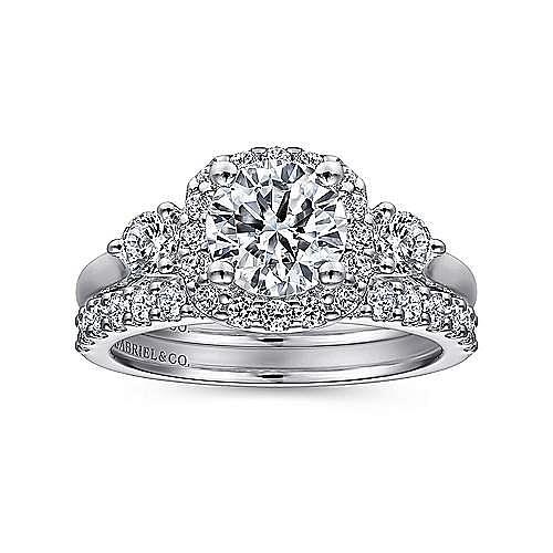 Martine 14k White Gold Round 3 Stones Halo Engagement Ring angle 4
