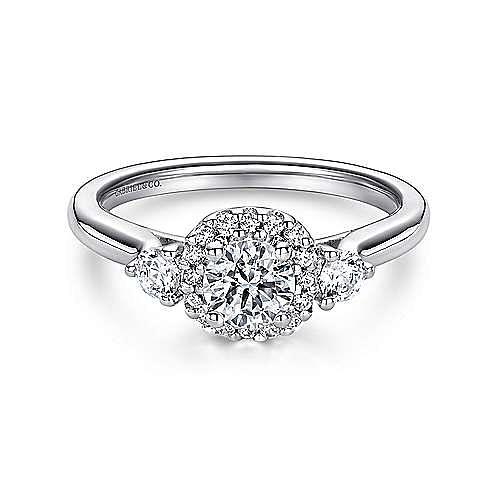 Martine 14k White Gold Round Halo Engagement Ring angle 1