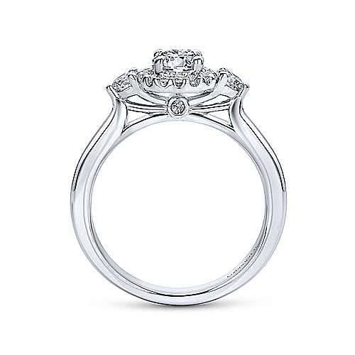 Martine 14k White Gold Round Halo Engagement Ring angle 2