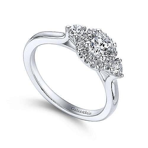 Martine 14k White Gold Round Halo Engagement Ring angle 3
