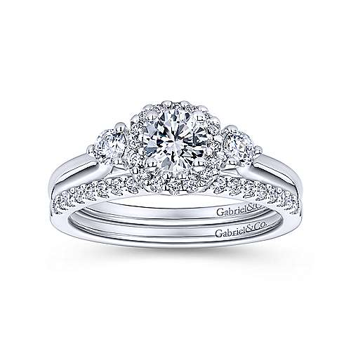 Martine 14k White Gold Round Halo Engagement Ring angle 4