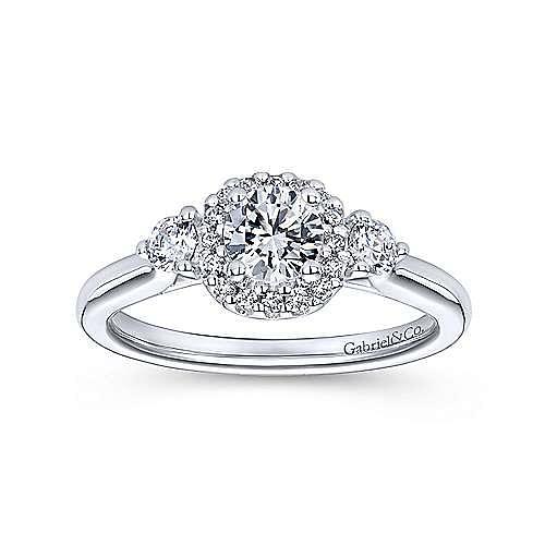 Martine 14k White Gold Round Halo Engagement Ring angle 5