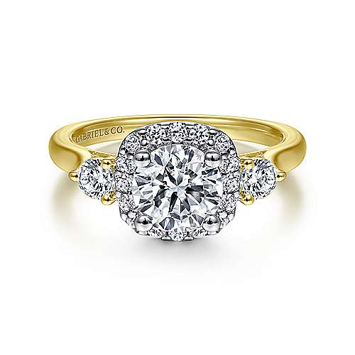 Martine 14k Yellow And White Gold Round Halo Engagement Ring angle 1