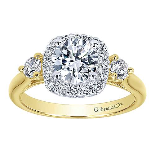 Martine 14k Yellow And White Gold Round Halo Engagement Ring angle 5