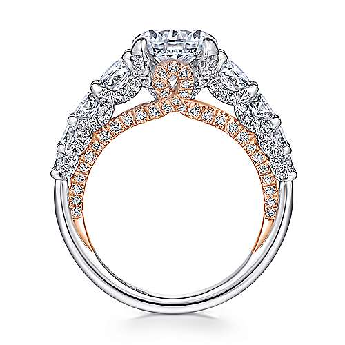 Martini 18k White And Rose Gold Round Straight Engagement Ring angle 2