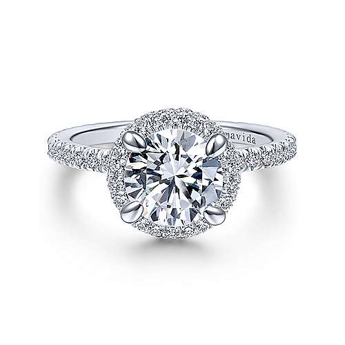 Mary 18k White Gold Round Double Halo Engagement Ring angle 1