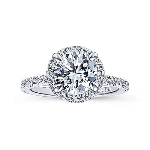 Mary 18k White Gold Round Double Halo Engagement Ring angle 5