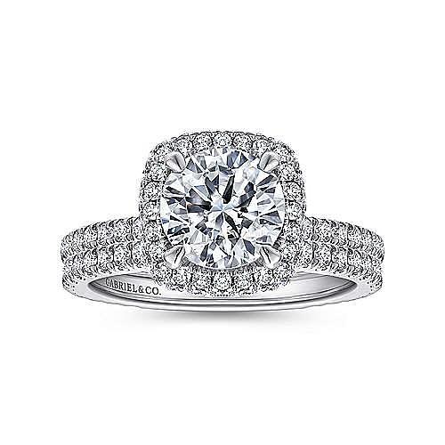 Mary 18k White Gold Round Double Halo Engagement Ring angle 4