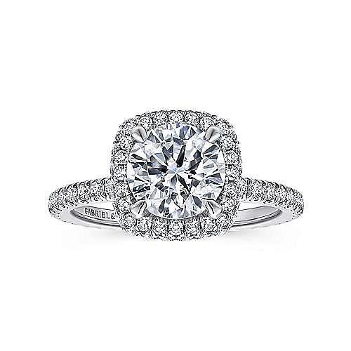 Mary 18k White Gold Round Double Halo Engagement Ring angle 5