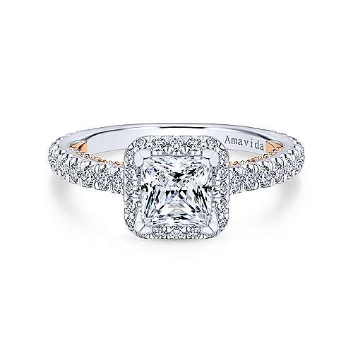 Gabriel - Masala 18k White And Rose Gold Princess Cut Halo Engagement Ring