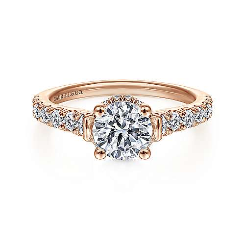 Gabriel - Matilda 14k Rose Gold Round Straight Engagement Ring