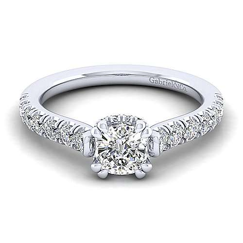 Gabriel - Matilda 14k White Gold Cushion Cut Straight Engagement Ring