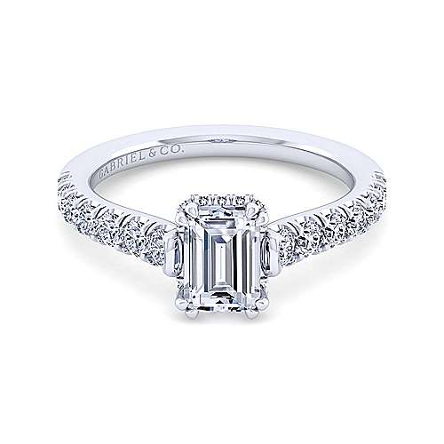 Gabriel - Matilda 14k White Gold Emerald Cut Straight Engagement Ring