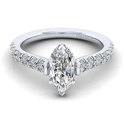 Gabriel - Matilda 14k White Gold Marquise  Straight Engagement Ring