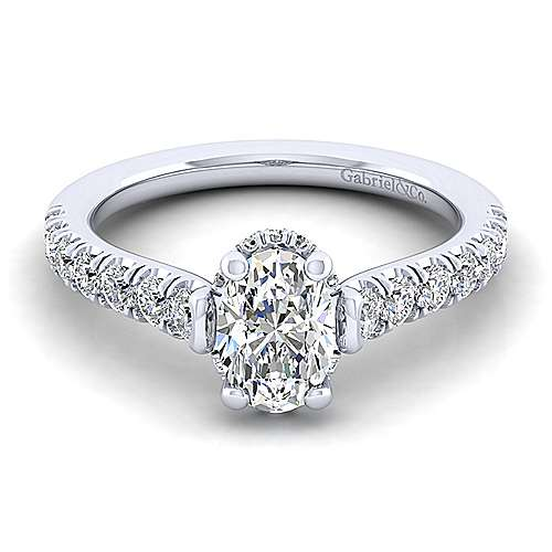 Gabriel - Matilda 14k White Gold Oval Straight Engagement Ring