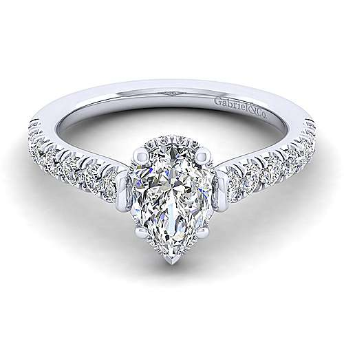 Gabriel - Matilda 14k White Gold Pear Shape Straight Engagement Ring