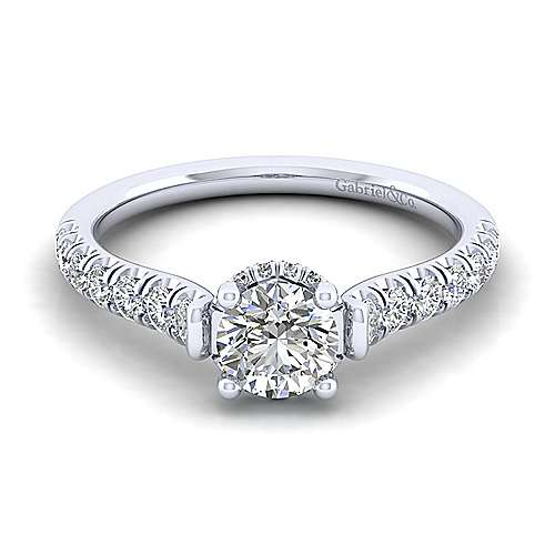 Matilda 14k White Gold Round Straight Engagement Ring angle 1