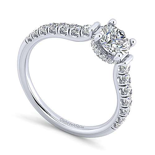 Matilda 14k White Gold Round Straight Engagement Ring angle 3