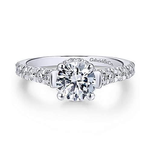 Gabriel - Matilda 18k White Gold Round Straight Engagement Ring
