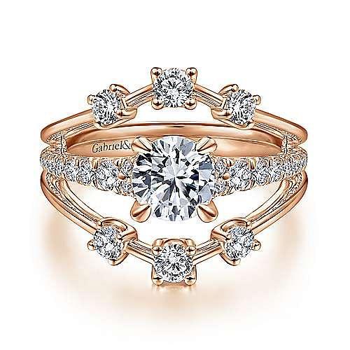 Gabriel - Mattie 14k Rose Gold Round Split Shank Engagement Ring
