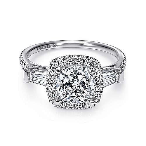 Maude 14k White Gold Cushion Cut Halo Engagement Ring angle 1