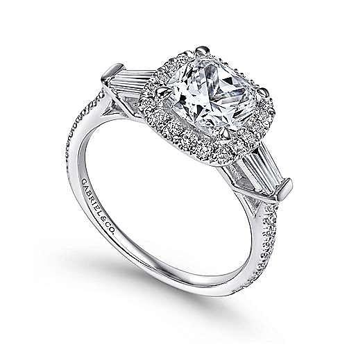 Maude 14k White Gold Cushion Cut Halo Engagement Ring angle 3