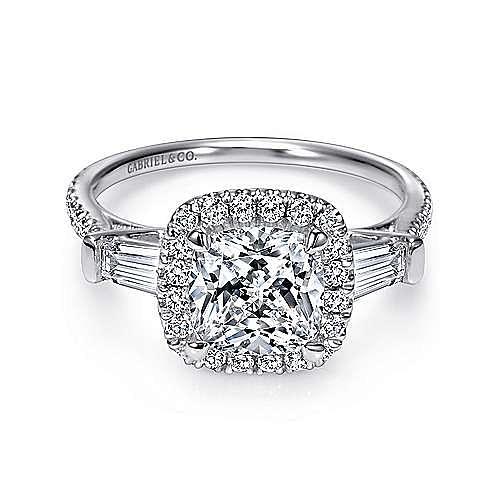 Maude 14k White Gold Cushion Cut Halo Engagement Ring angle 5