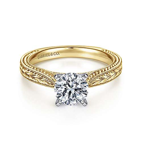 Gabriel - Maura 14k Yellow And White Gold Round Straight Engagement Ring