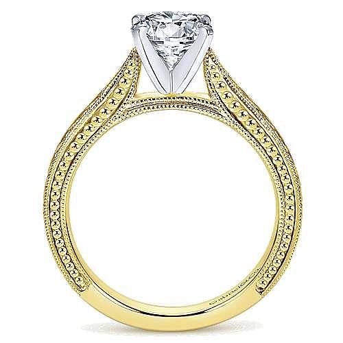 Maura 14k Yellow And White Gold Round Straight Engagement Ring angle 2