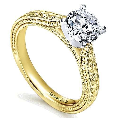Maura 14k Yellow And White Gold Round Straight Engagement Ring angle 3