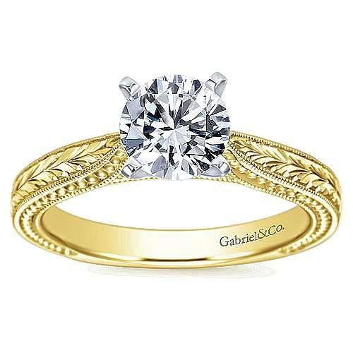 Maura 14k Yellow And White Gold Round Straight Engagement Ring angle 5