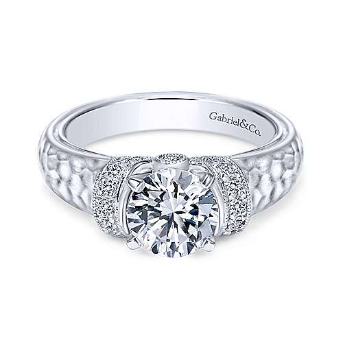 Gabriel - Maureen 14k White Gold Round Straight Engagement Ring