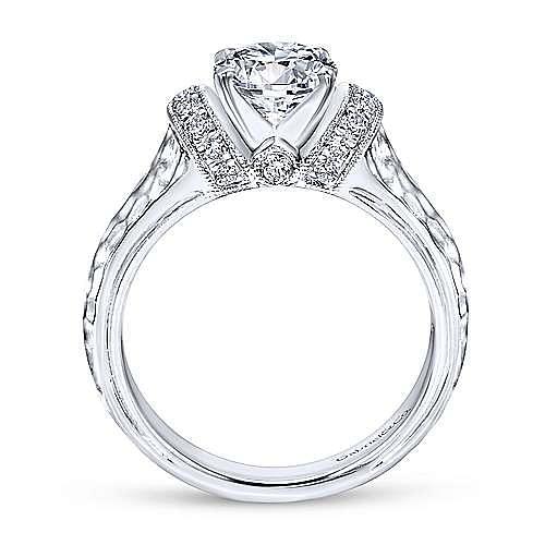 Maureen 14k White Gold Round Straight Engagement Ring angle 2