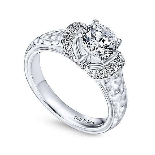Maureen 14k White Gold Round Straight Engagement Ring angle 3