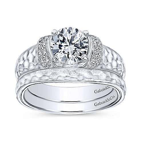 Maureen 14k White Gold Round Straight Engagement Ring angle 4