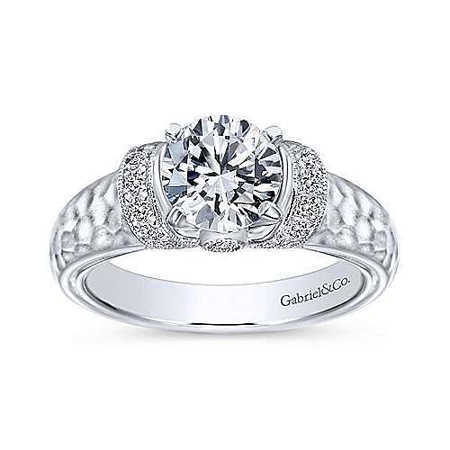 Maureen 14k White Gold Round Straight Engagement Ring angle 5