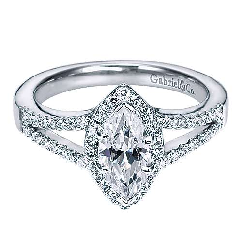 Mavis 14k White Gold Marquise  Halo Engagement Ring angle 1