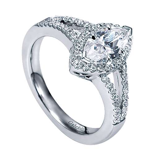 Mavis 14k White Gold Marquise  Halo Engagement Ring angle 3