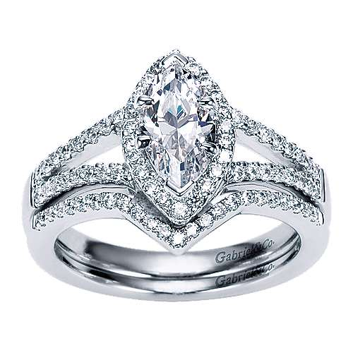 Mavis 14k White Gold Marquise  Halo Engagement Ring angle 4