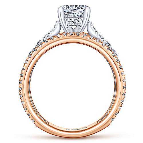 Maxine 18k White And Rose Gold Round Straight Engagement Ring angle 2