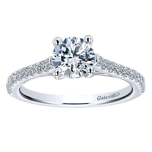 May 14k White Gold Round Straight Engagement Ring angle 5