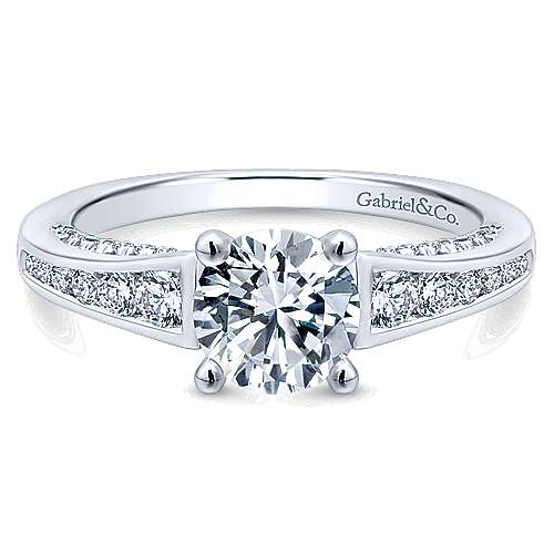 Gabriel - Mayflower 14k White Gold Round Straight Engagement Ring