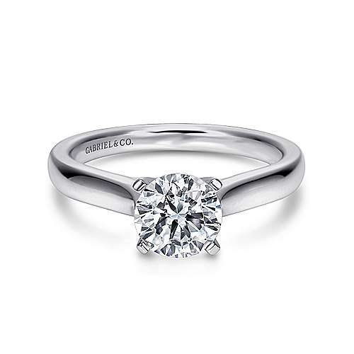 Gabriel - Mckinley 14k White Gold Round Solitaire Engagement Ring